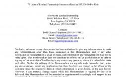 008 Wonderful Private Placement Memorandum Template Doc High Definition