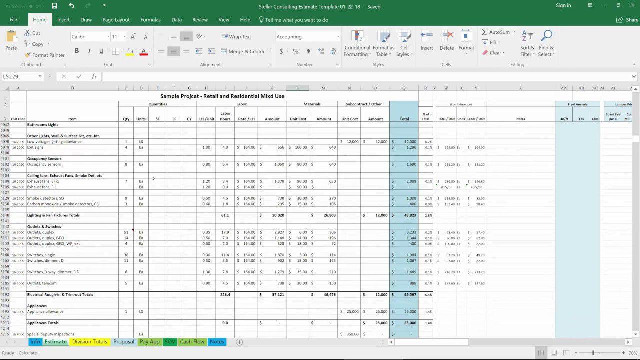 008 Wondrou Construction Estimating Spreadsheet Template High Def  Example Estimate Free CostFull