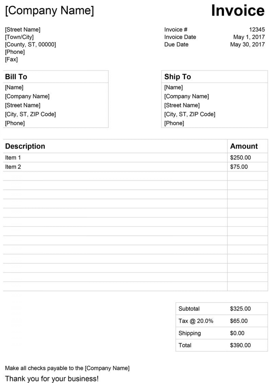 008 Wondrou Free Invoice Template For Word Inspiration  Receipt Microsoft Printable Uk1920