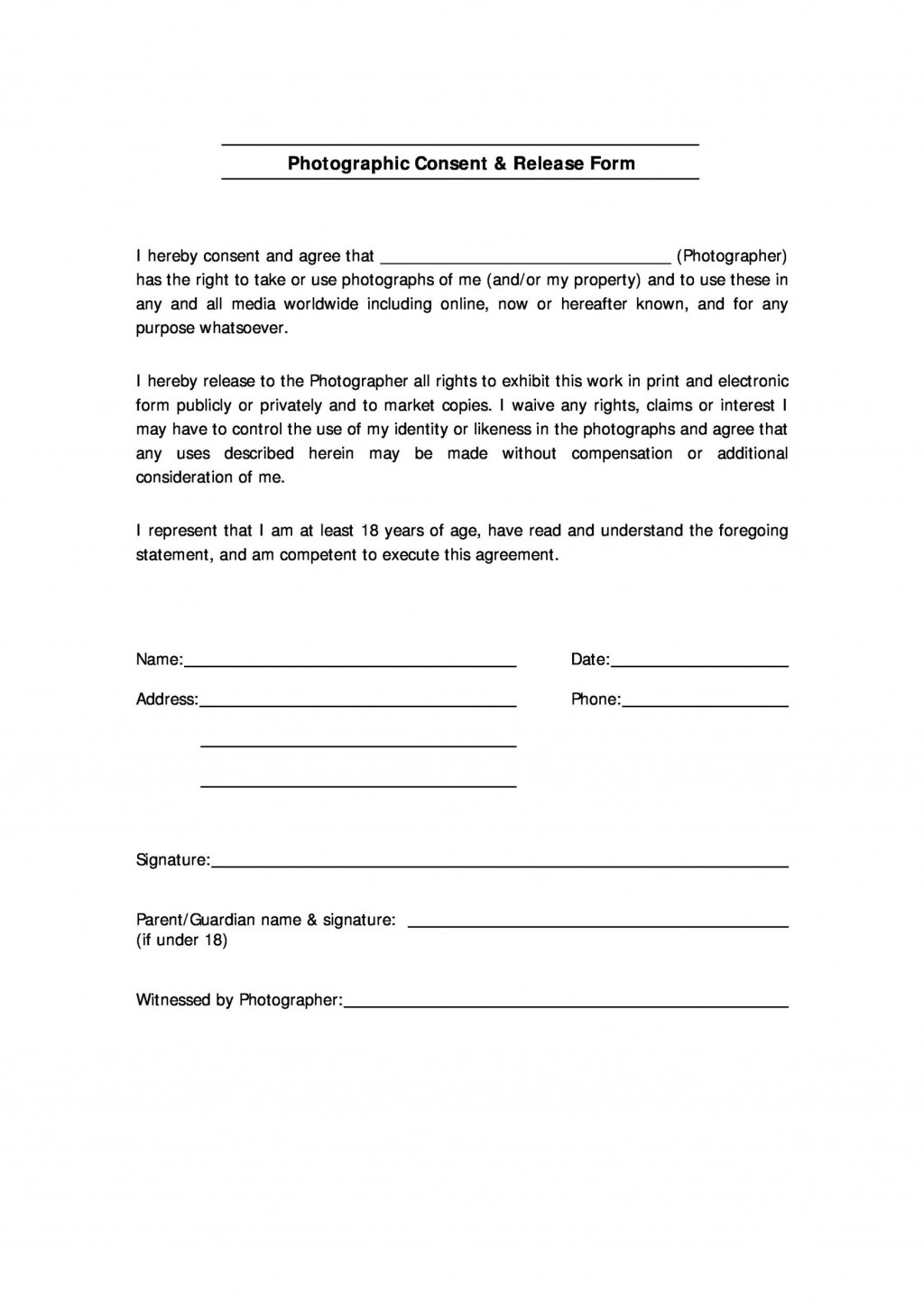 008 Wondrou Photo Release Form Template High Definition  Video Consent Australia Free AndLarge