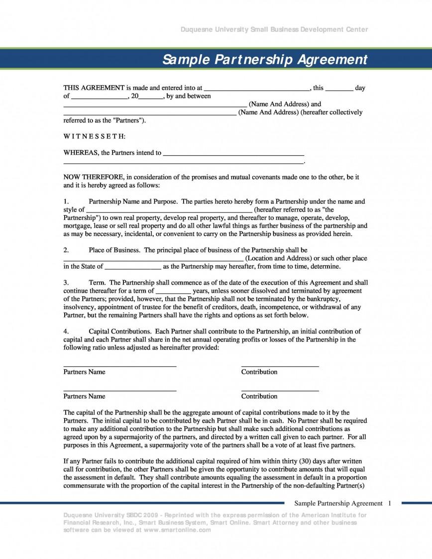 008 Wondrou Real Estate Partnership Agreement Template Idea  Investment Team Free