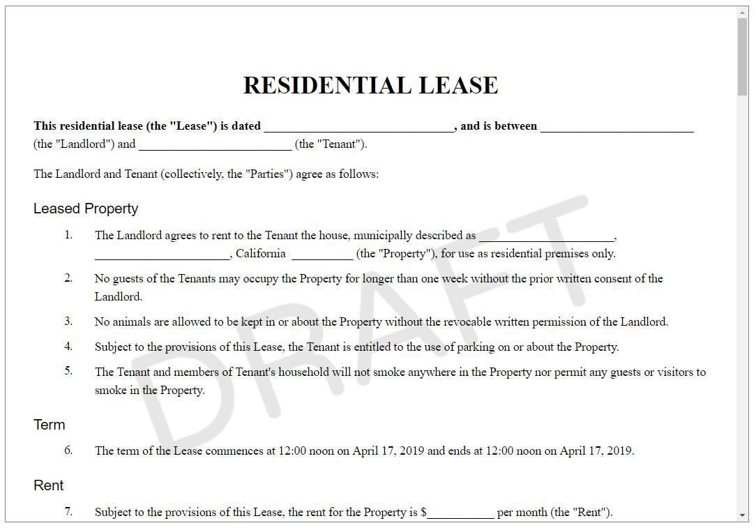 008 Wondrou Rental Lease Template Free Highest Quality  Agreement Sample Download Residential PrintableFull