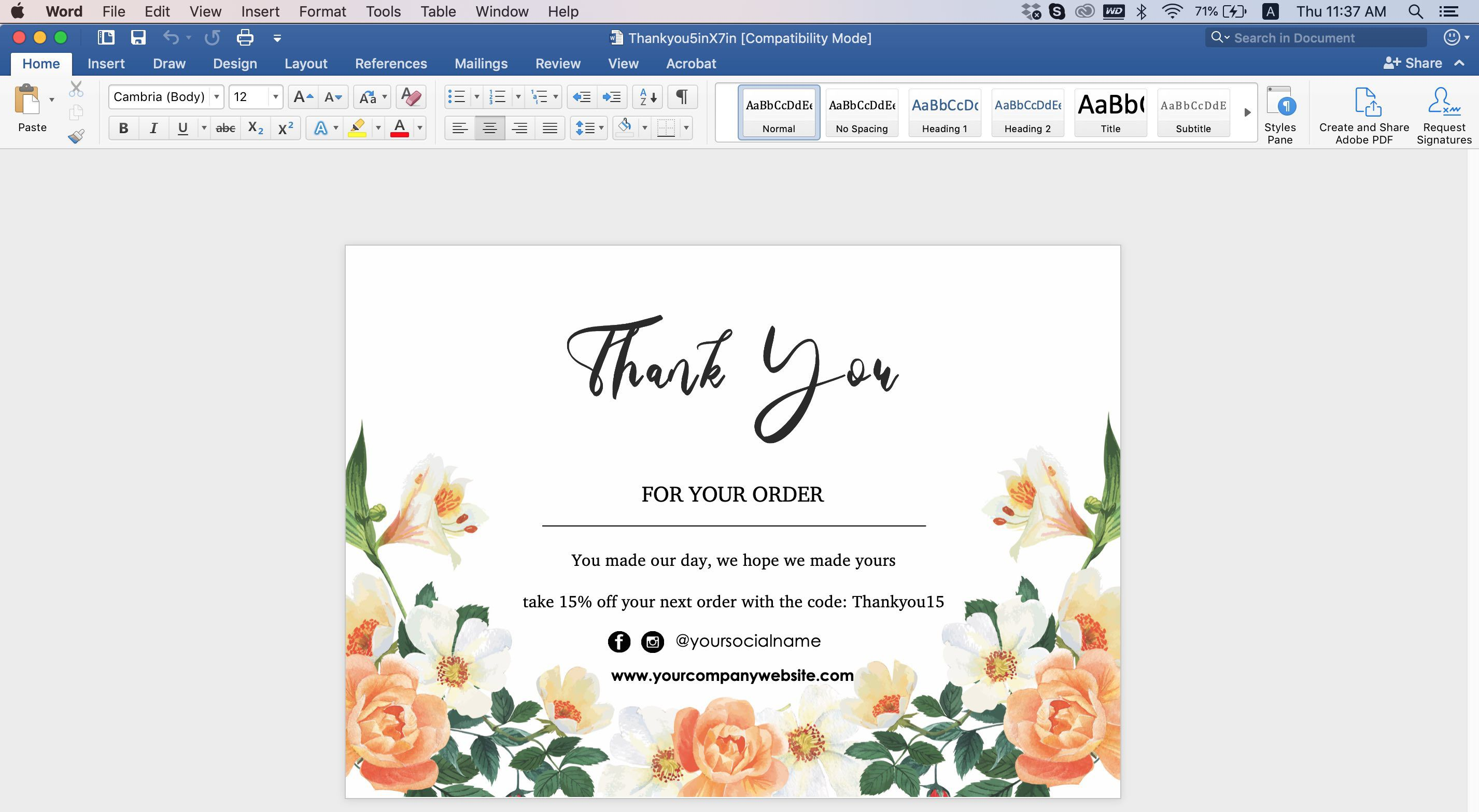 008 Wondrou Thank You Note Card Template Word Concept Full