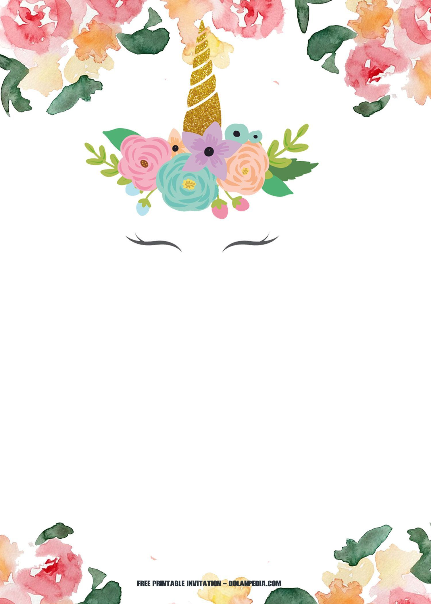 008 Wondrou Unicorn Baby Shower Template Free Download Sample  Printable InvitationFull
