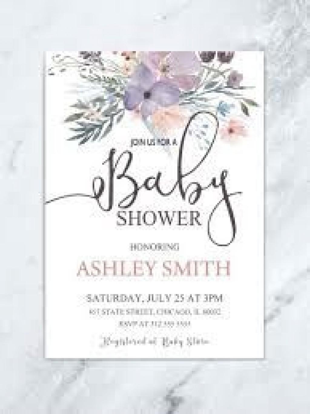 009 Amazing Baby Shower Invitation Girl Purple Design Large