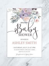 009 Amazing Baby Shower Invitation Girl Purple Design Full