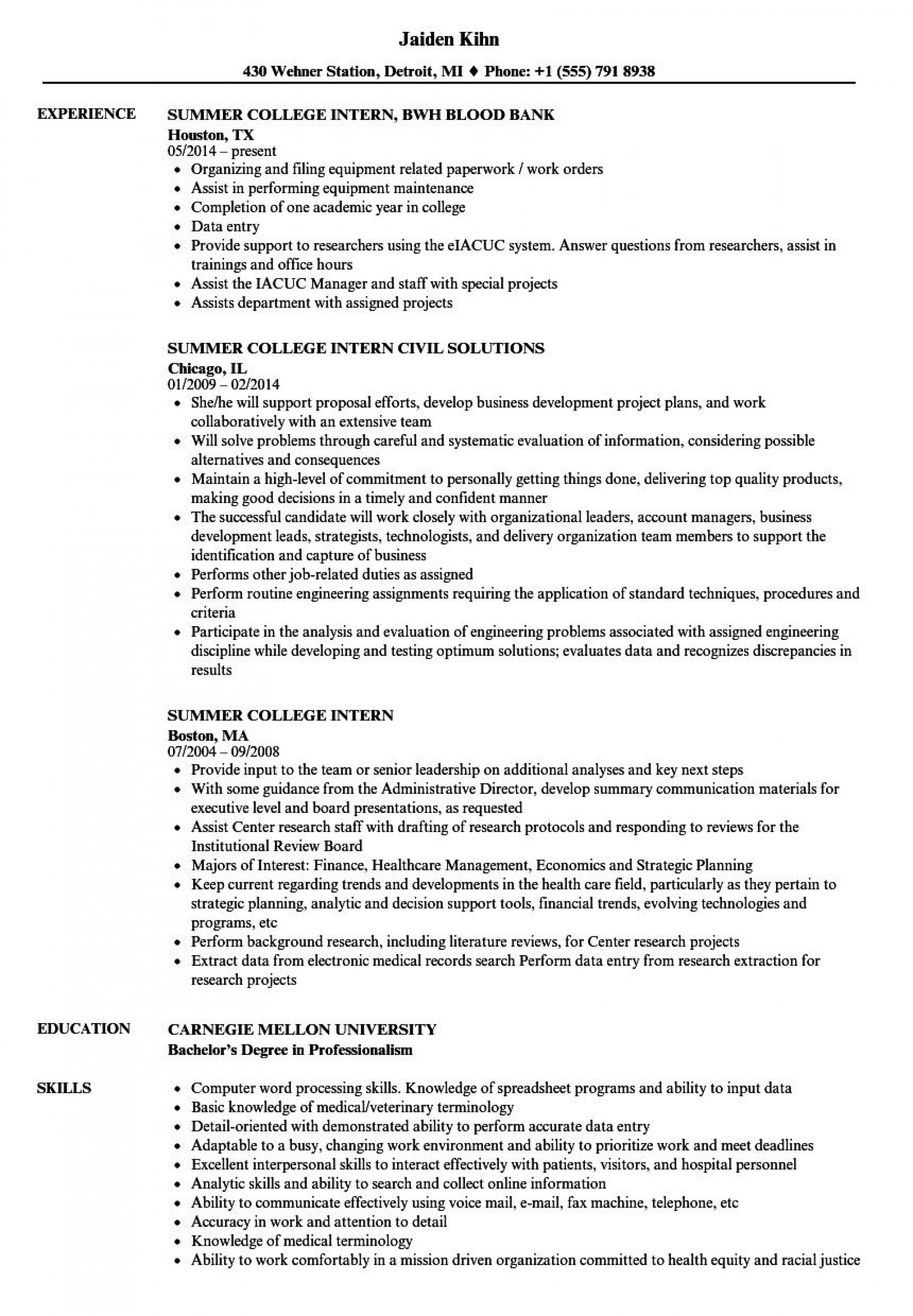 009 Amazing College Internship Resume Template Inspiration  Student Job For Download1920