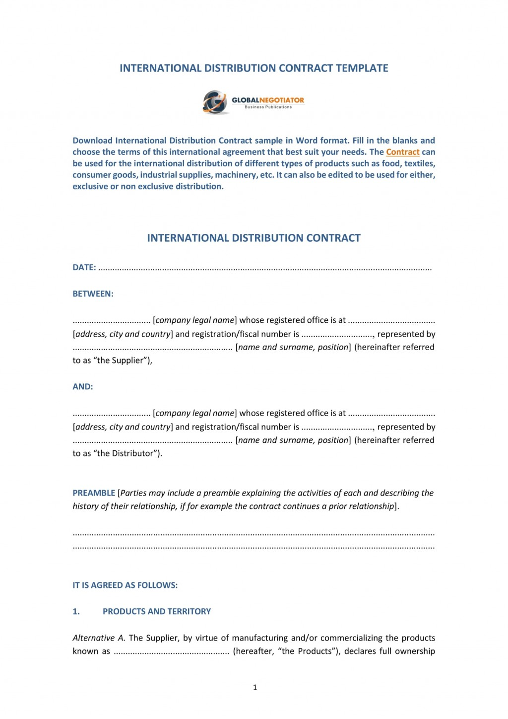 009 Amazing Distribution Agreement Template Word Image  Distributor Exclusive ContractLarge