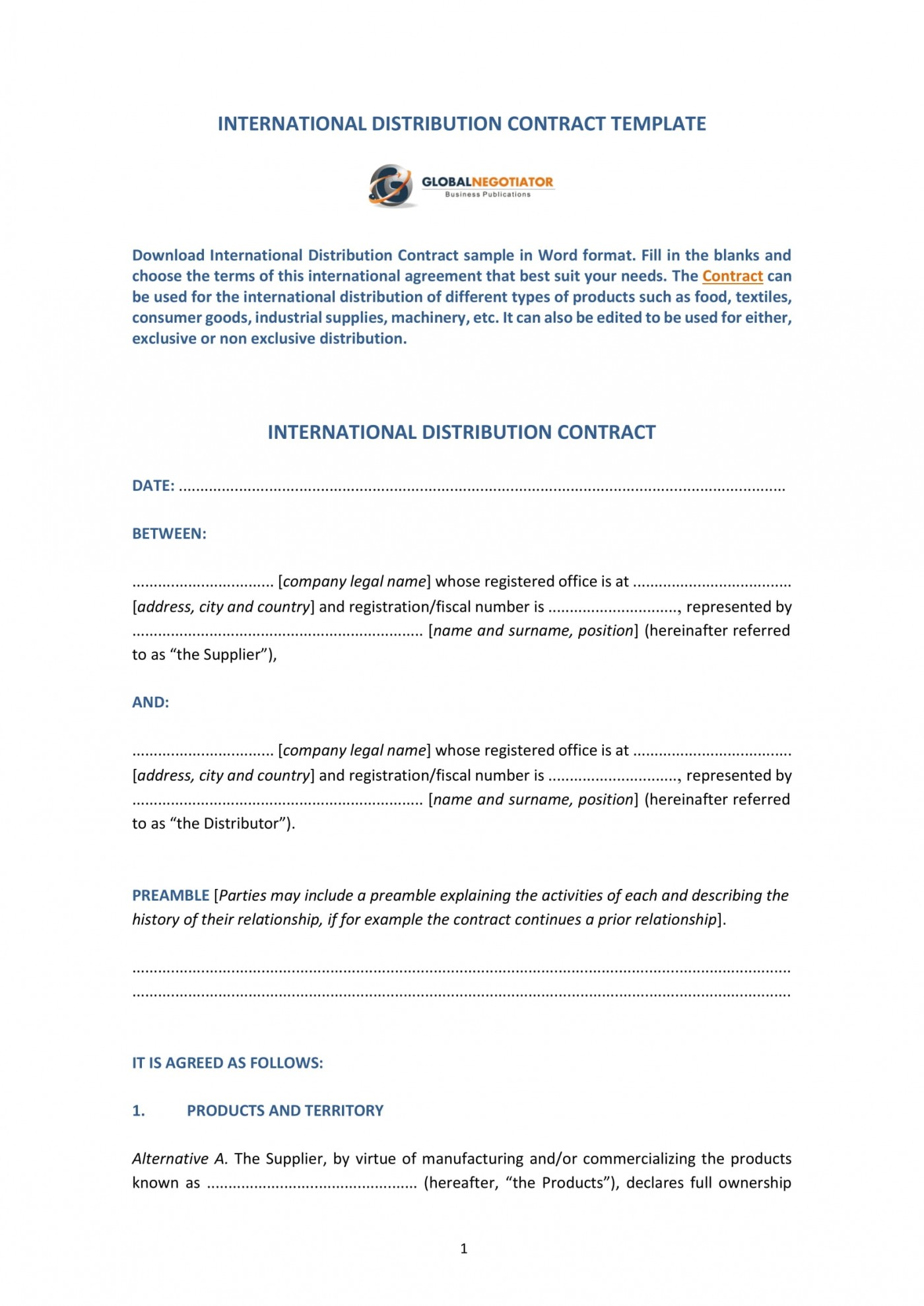 009 Amazing Distribution Agreement Template Word Image  Distributor Exclusive Contract1400