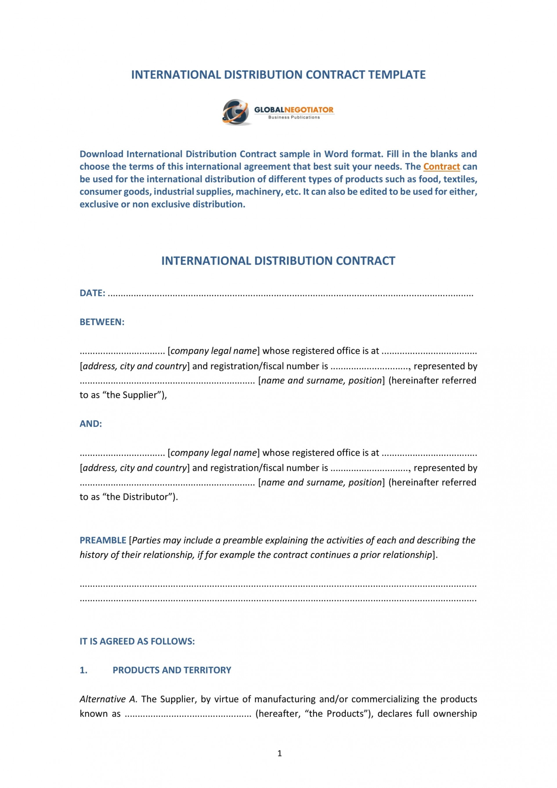 009 Amazing Distribution Agreement Template Word Image  Distributor Exclusive Contract1920