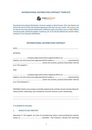 009 Amazing Distribution Agreement Template Word Image  Exclusive Distributor320