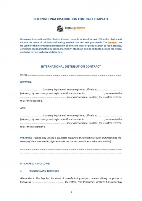 009 Amazing Distribution Agreement Template Word Image  Distributor Exclusive Contract480