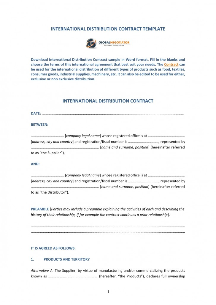 009 Amazing Distribution Agreement Template Word Image  Distributor Exclusive Contract728