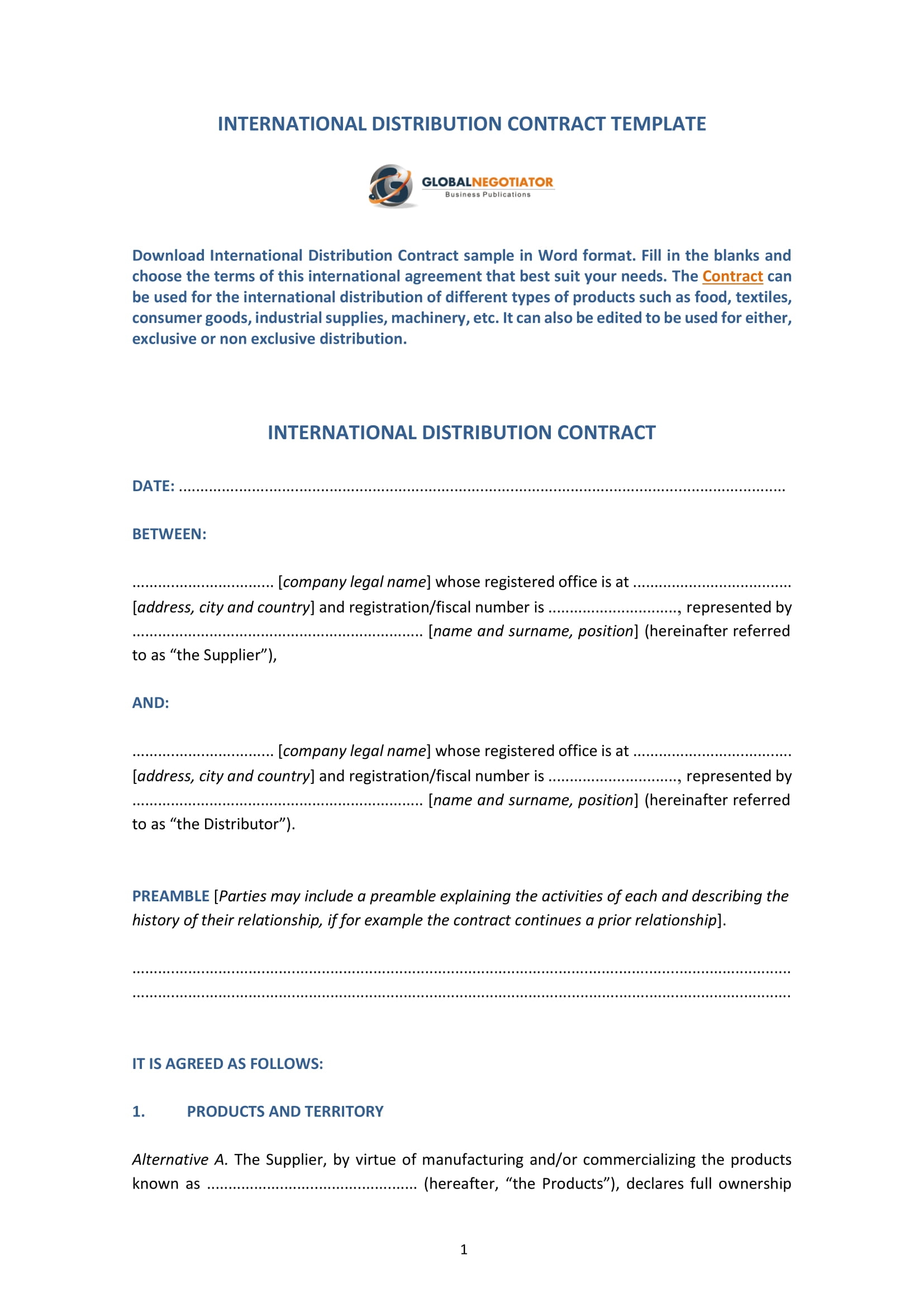 009 Amazing Distribution Agreement Template Word Image  Exclusive DistributorFull