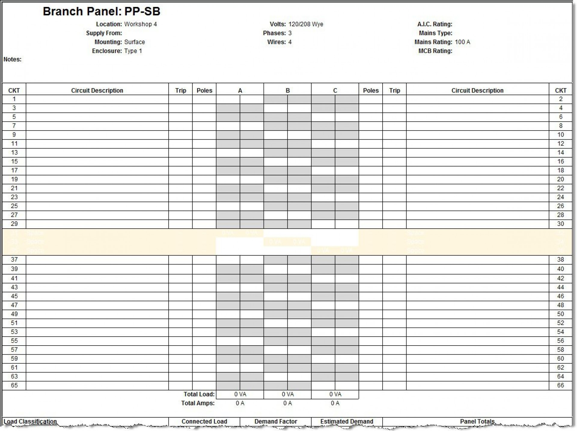009 Amazing Electric Panel Schedule Template Sample  Electrical Excel Free Blank Word1920
