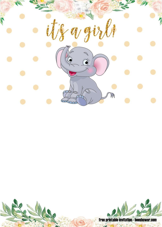 009 Amazing Free Printable Elephant Baby Shower Invitation Template Highest Clarity  Templates EditableLarge