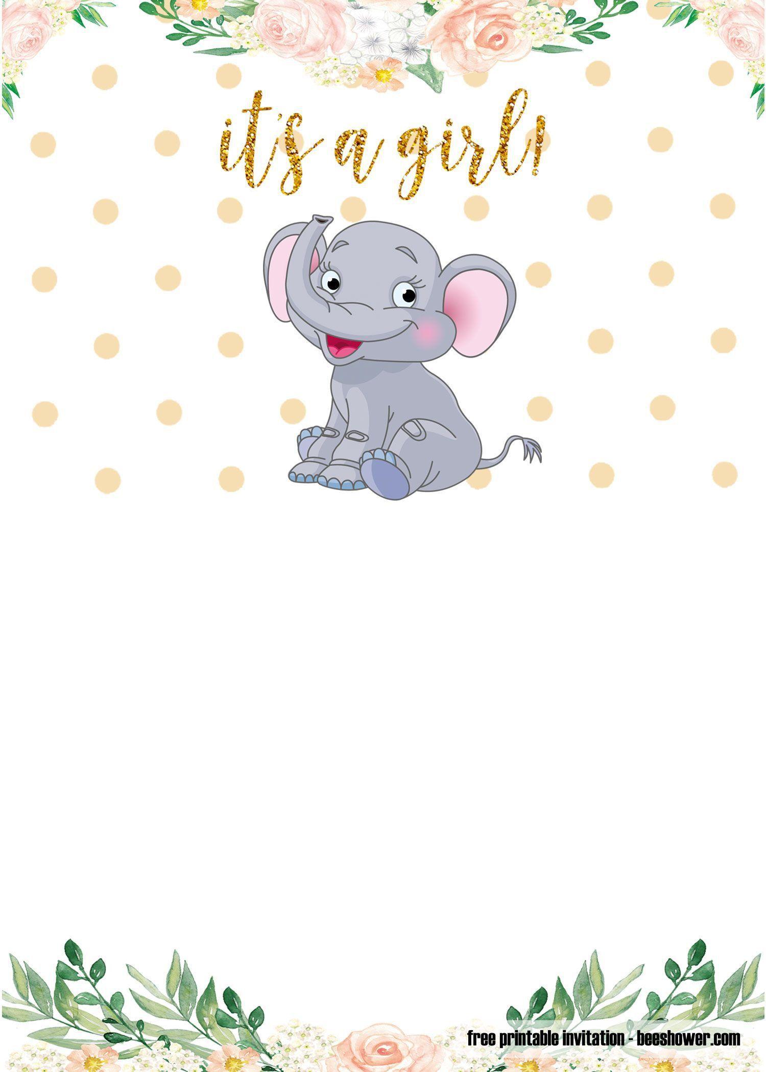 009 Amazing Free Printable Elephant Baby Shower Invitation Template Highest Clarity  Templates EditableFull