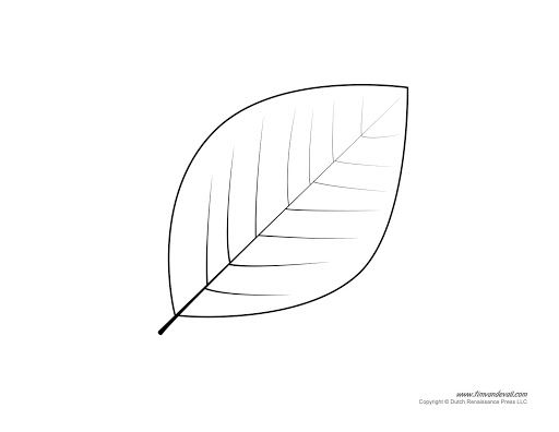 009 Amazing Leaf Template With Line Idea  Fall Printable BlankFull