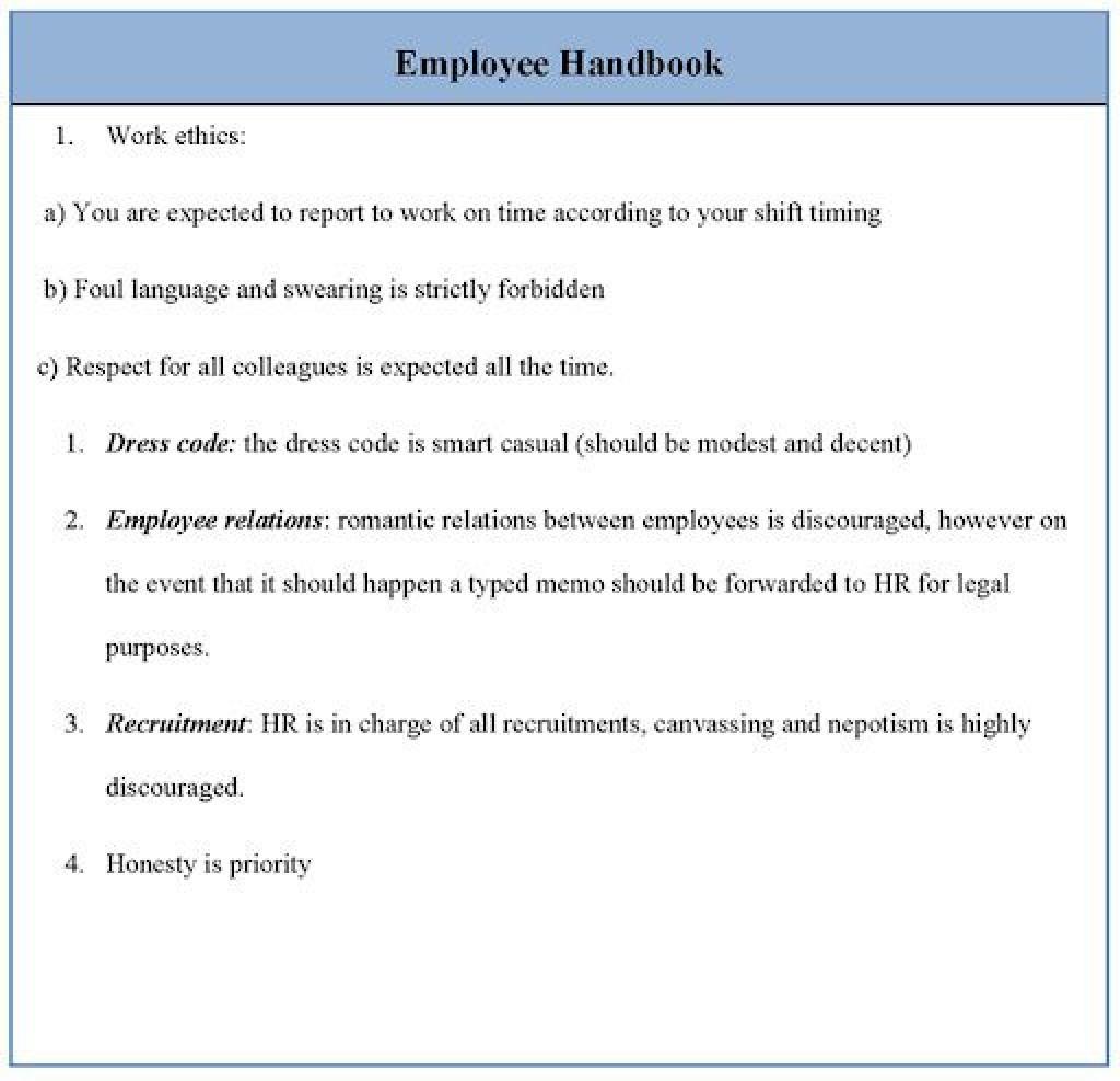 009 Archaicawful Free Employment Handbook Template Idea Large