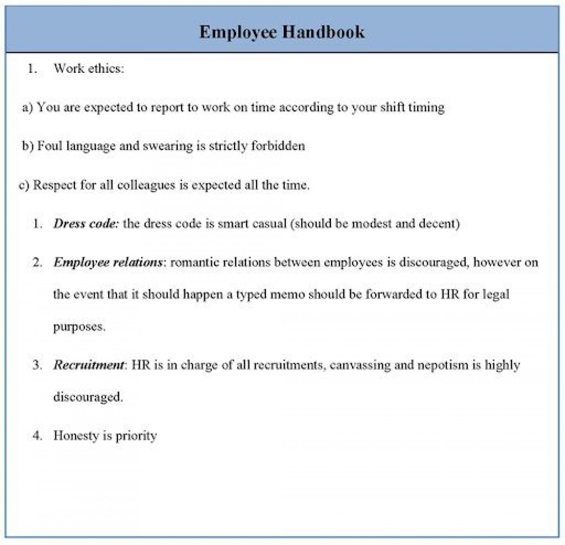 009 Archaicawful Free Employment Handbook Template Idea 1920
