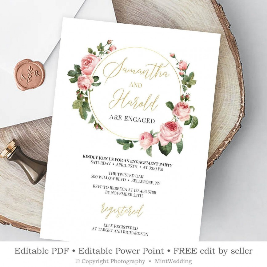 009 Archaicawful Free Engagement Invitation Template Online With Photo Concept 868