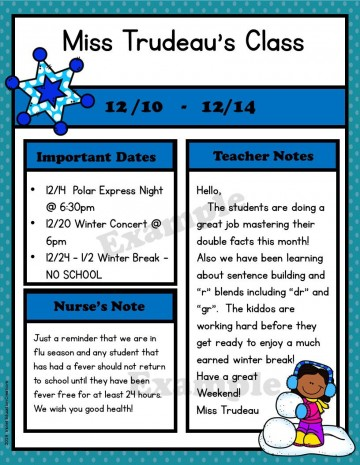 009 Archaicawful Free Newsletter Template For Teacher Idea  Downloadable Editable Preschool360