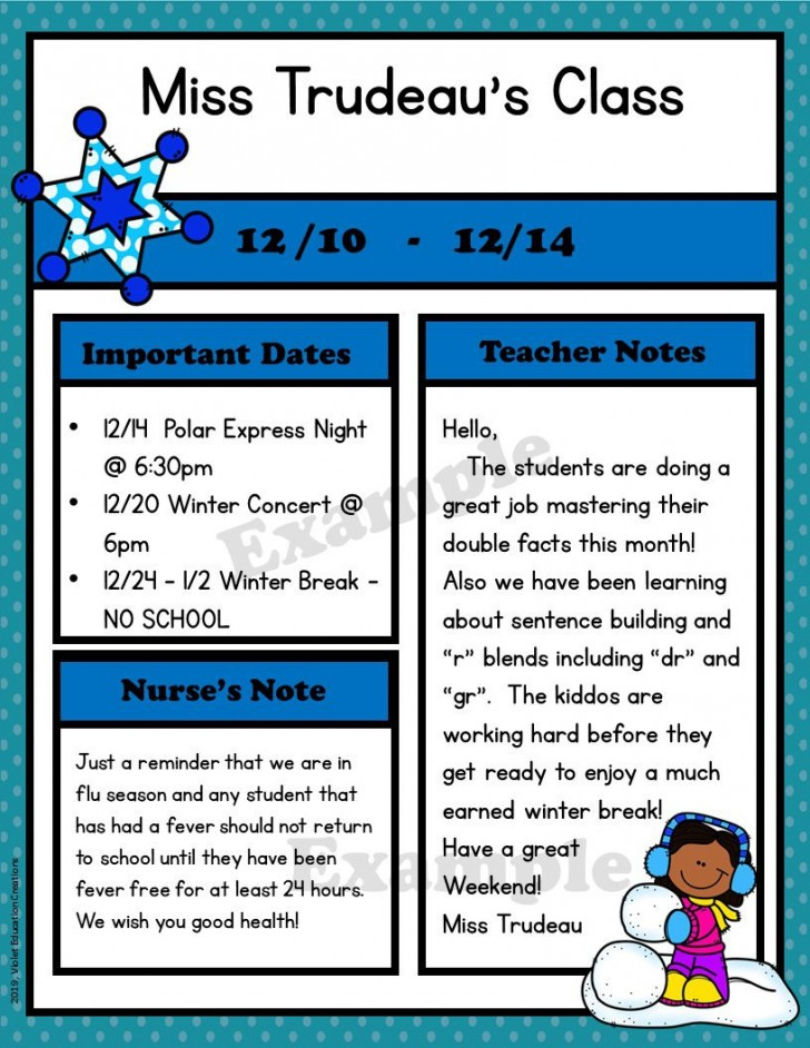 009 Archaicawful Free Newsletter Template For Teacher Idea  Downloadable Editable Preschool728
