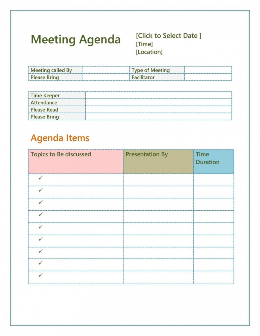 Meeting Agenda Template Word Addictionary