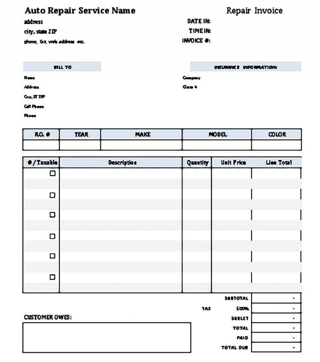 009 Archaicawful Microsoft Excel Auto Repair Invoice Template Idea Large