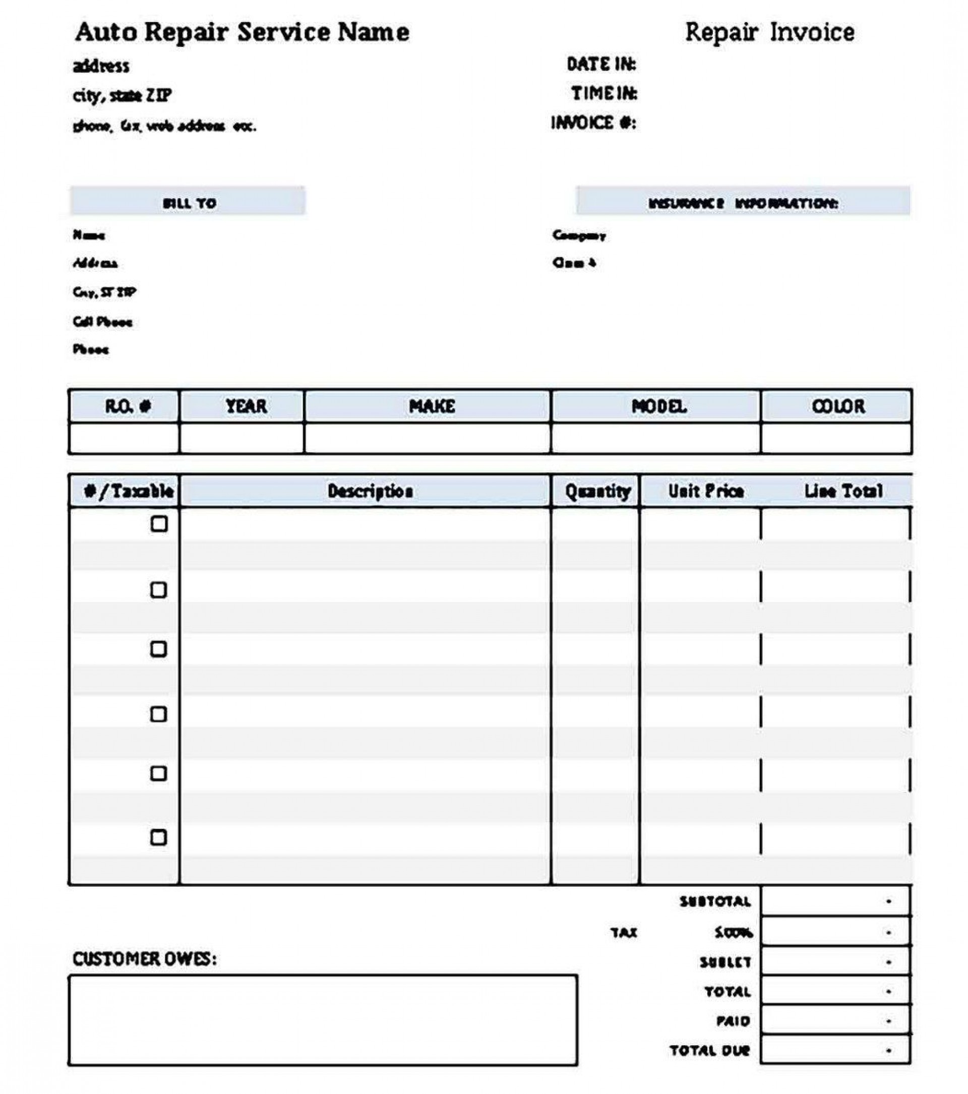 009 Archaicawful Microsoft Excel Auto Repair Invoice Template Idea 1920