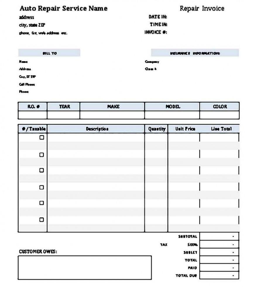 009 Archaicawful Microsoft Excel Auto Repair Invoice Template Idea