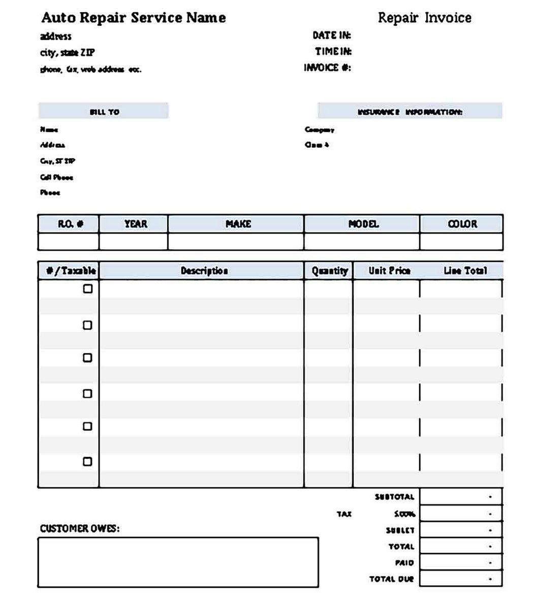 009 Archaicawful Microsoft Excel Auto Repair Invoice Template Idea Full