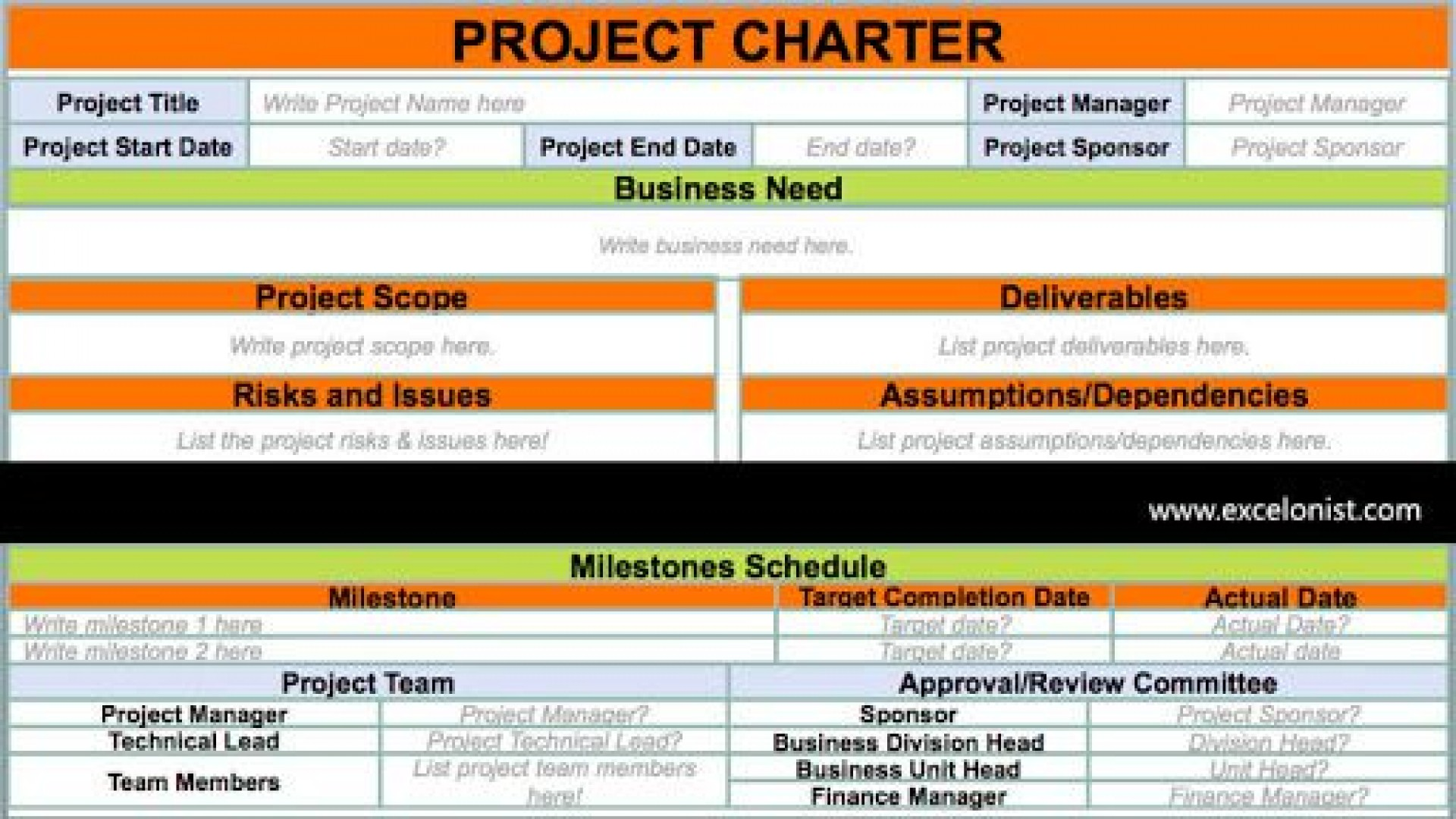 009 Archaicawful Project Charter Template Excel Picture  Lean Pmbok Nederland1920