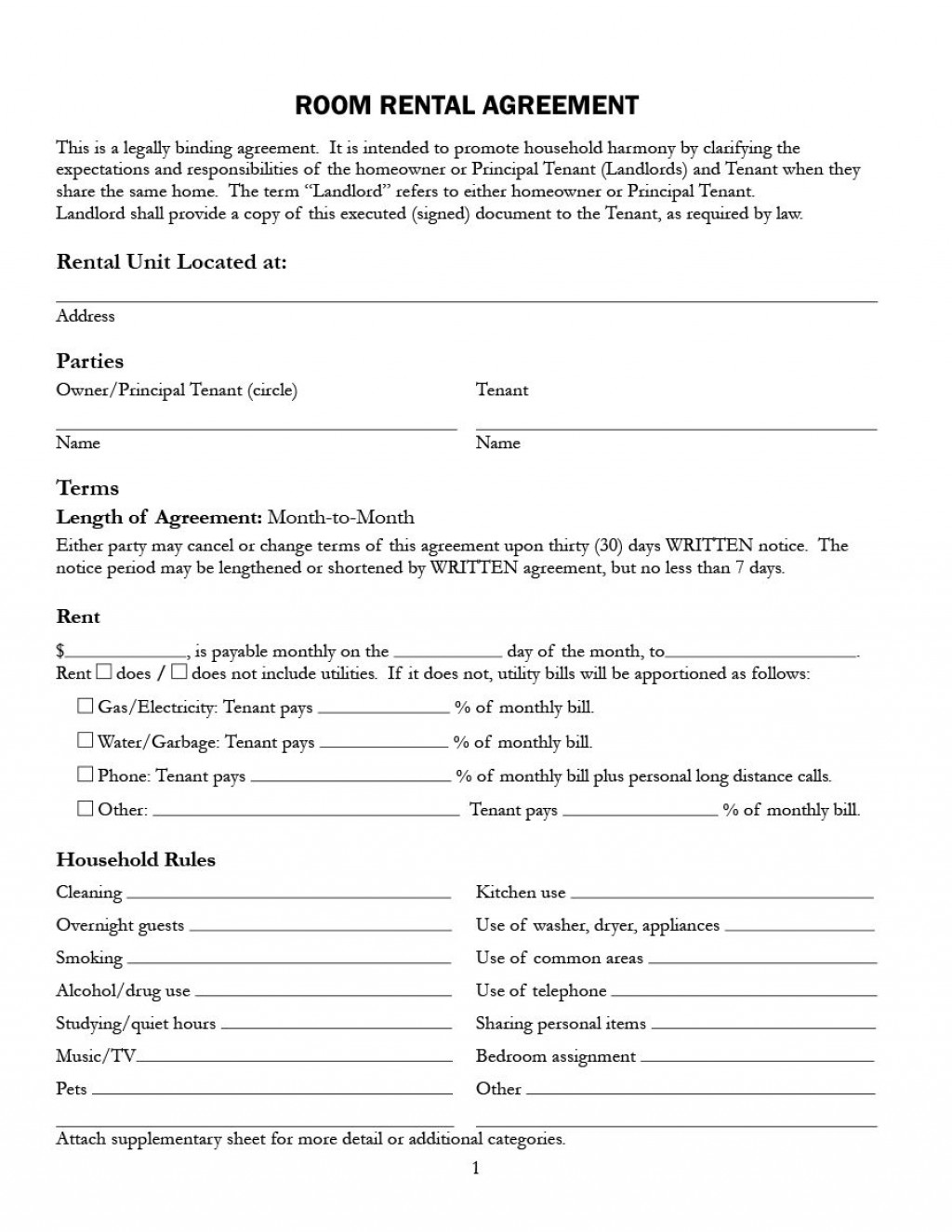 009 Archaicawful Room Rental Agreement Template Alberta Example Large