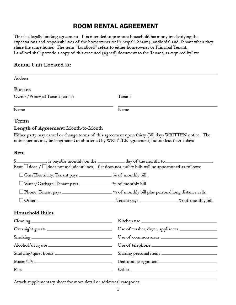 009 Archaicawful Room Rental Agreement Template Alberta Example Full