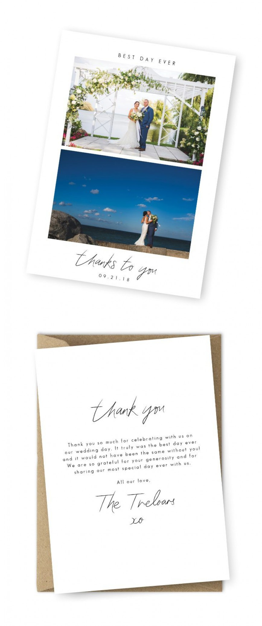 009 Archaicawful Wedding Thank You Note Template Design  Templates Card Etsy Bridal Shower Example