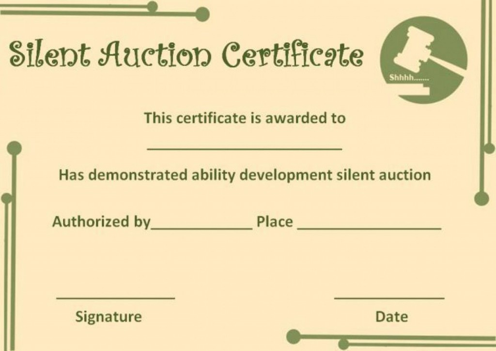 009 Astounding Free Silent Auction Gift Certificate Template Design Large