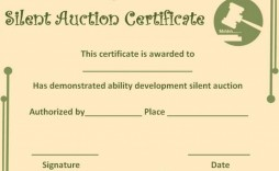 009 Astounding Free Silent Auction Gift Certificate Template Design