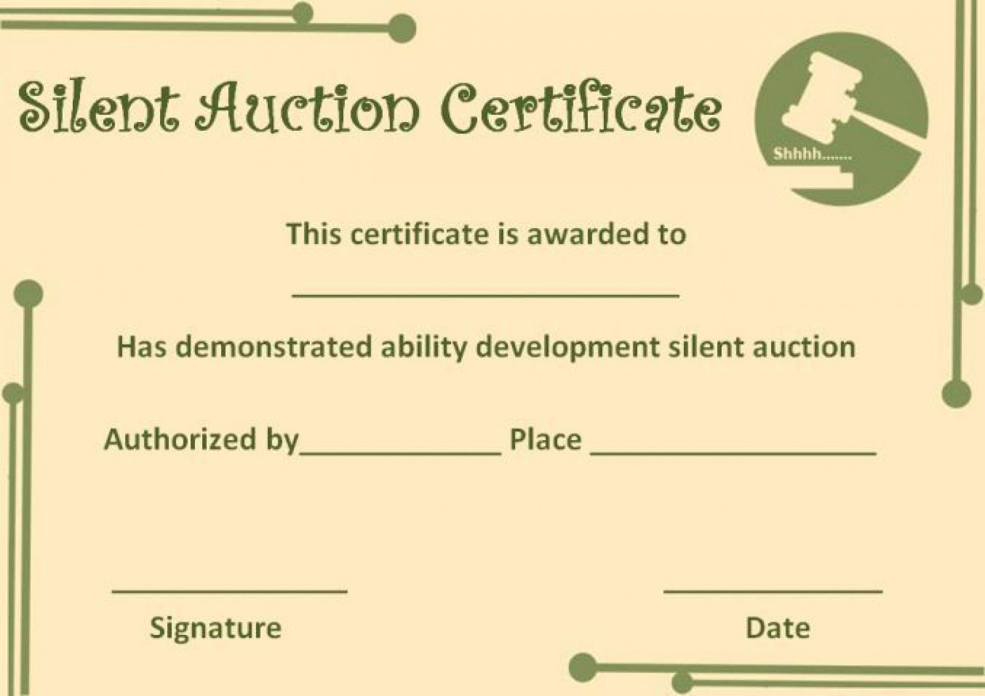 009 Astounding Free Silent Auction Gift Certificate Template Design Full
