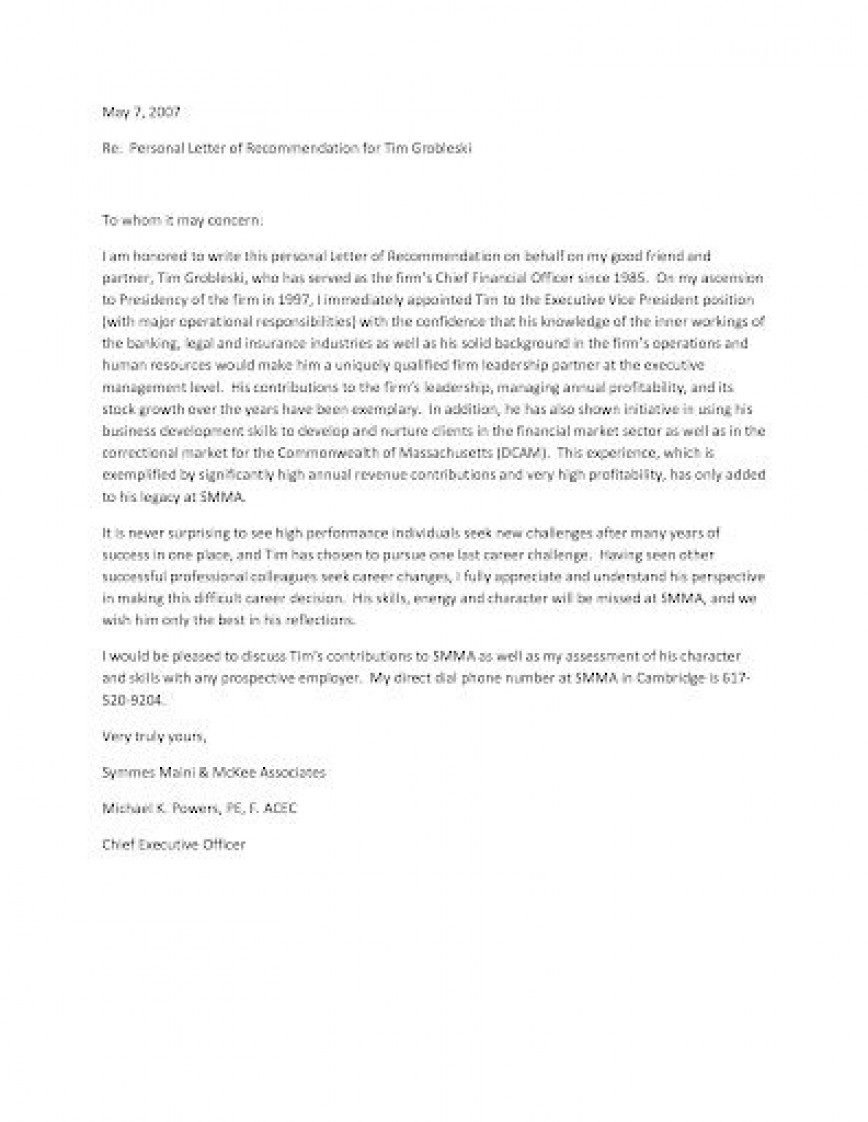 009 Astounding Personal Letter Of Recommendation Template Design  For A Friend Assistant