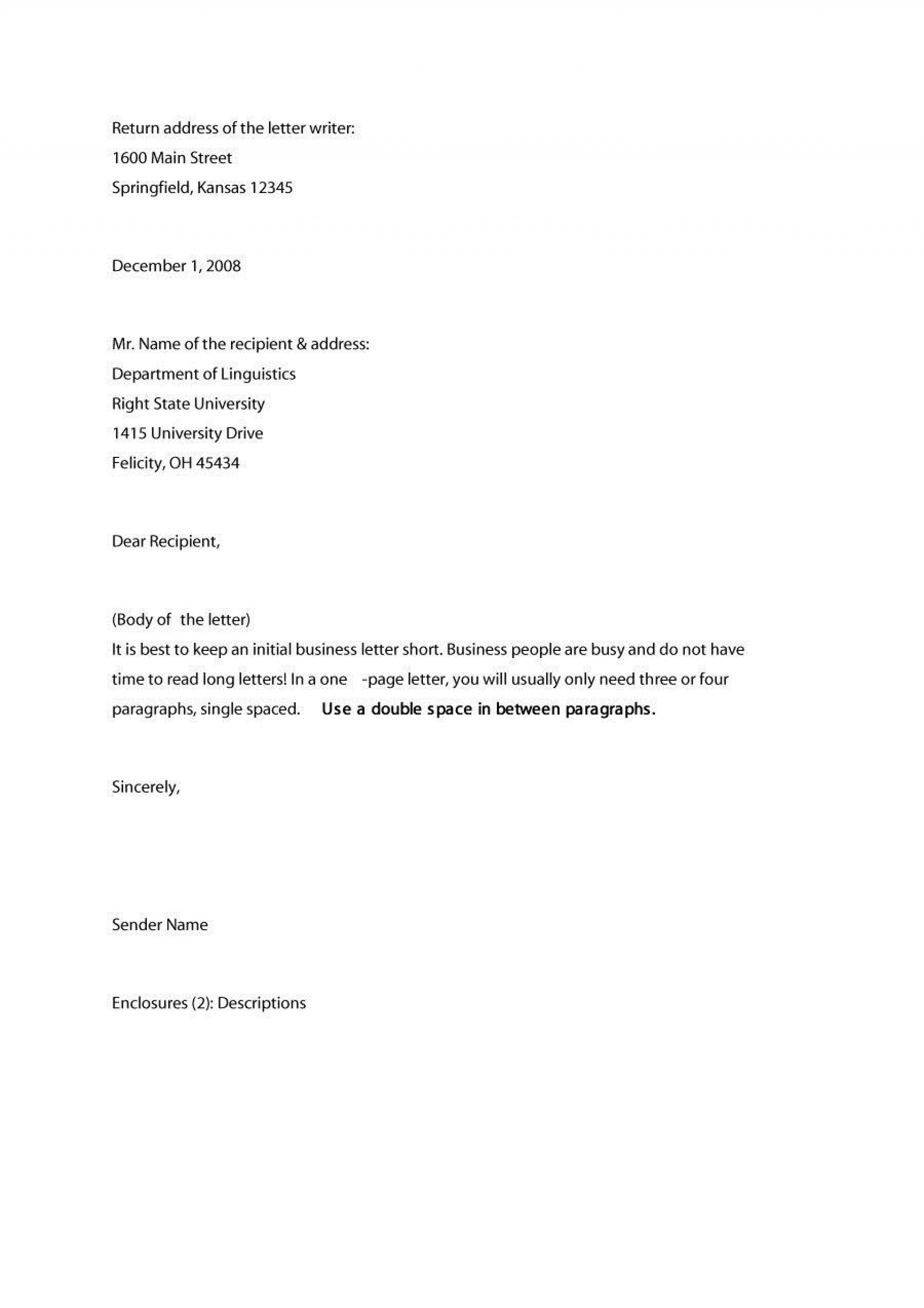 009 Astounding Sample Busines Letter Template Inspiration  Of Intent Formal Free1920