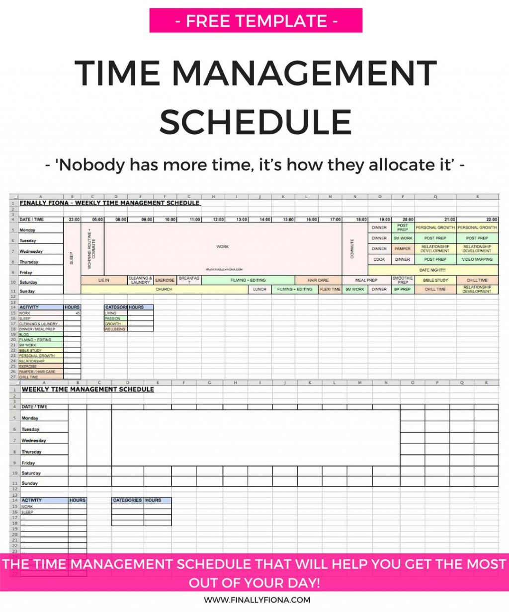 009 Astounding Time Management Schedule Template Example  Plan For Student Calendar ExcelLarge