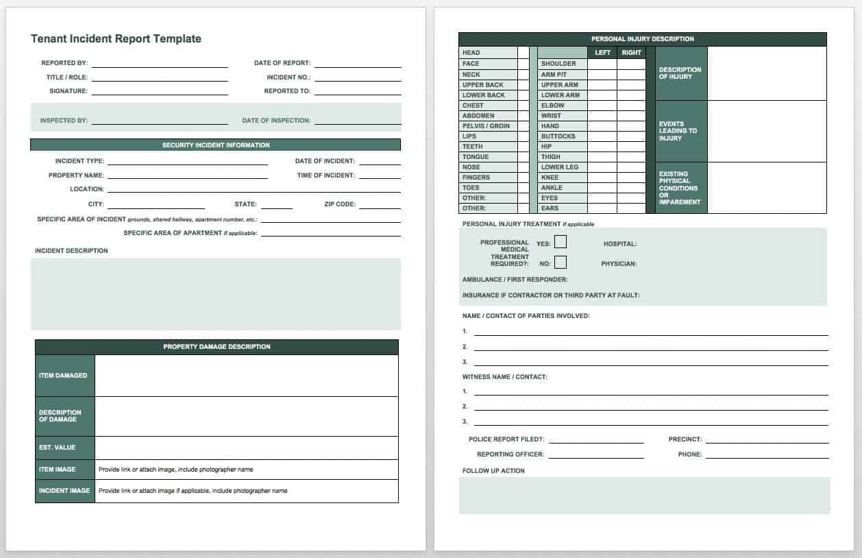 009 Astounding Workplace Incident Report Template Ontario High Def  FormFull