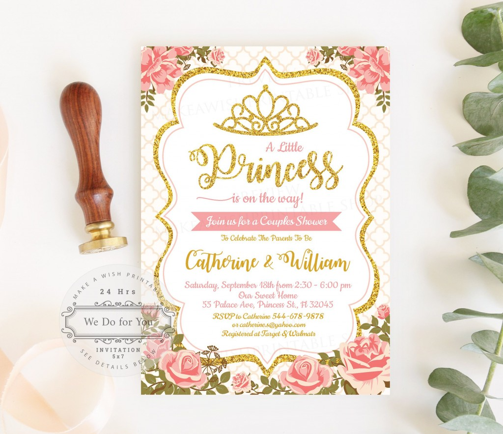009 Awesome Baby Shower Invitation Girl Princes Highest Clarity  Princess ThemeLarge