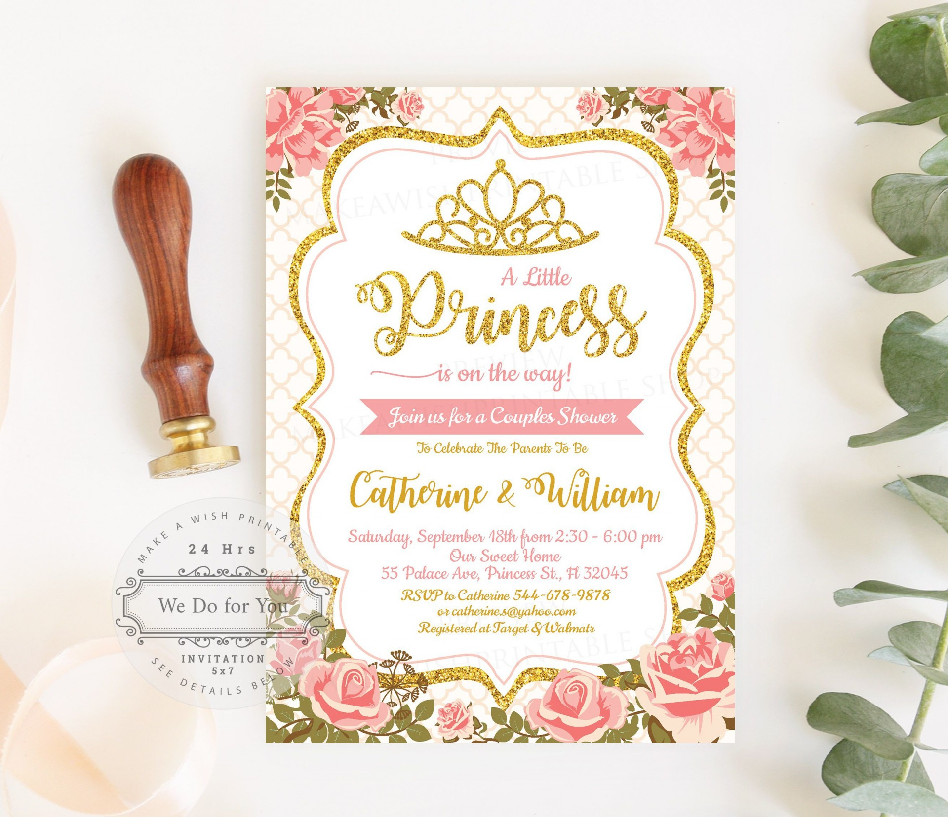 009 Awesome Baby Shower Invitation Girl Princes Highest Clarity  Princess Theme1920