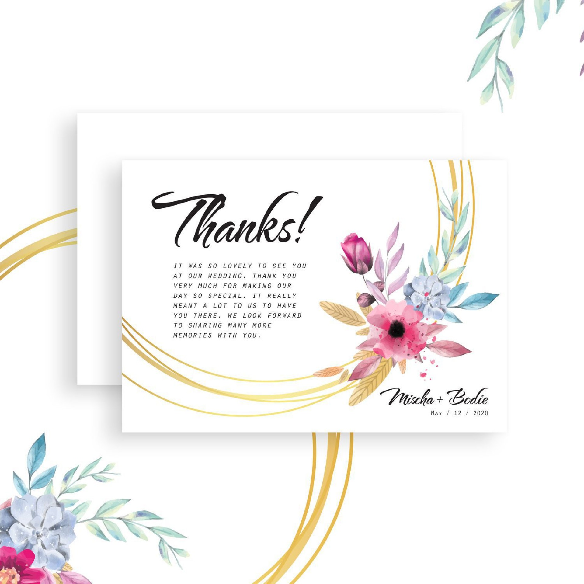 009 Awesome Diy Wedding Thank You Card Template Design  Templates1920
