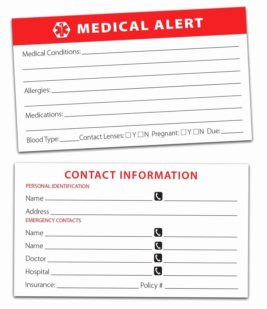 009 Awesome Emergency Information Card Template Example  Contact Free For ChildFull