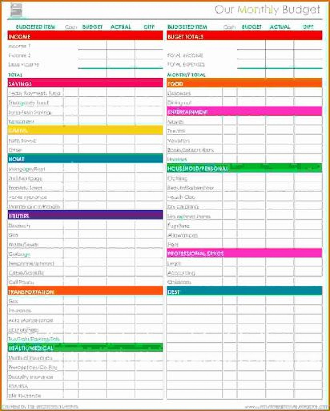 009 Awesome Free Simple Monthly Household Budget Template High Resolution 1400