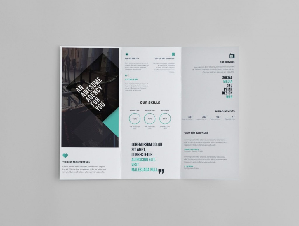 009 Awesome Free Tri Fold Brochure Template Sample  Microsoft Word 2010 Download Ai Downloadable ForLarge