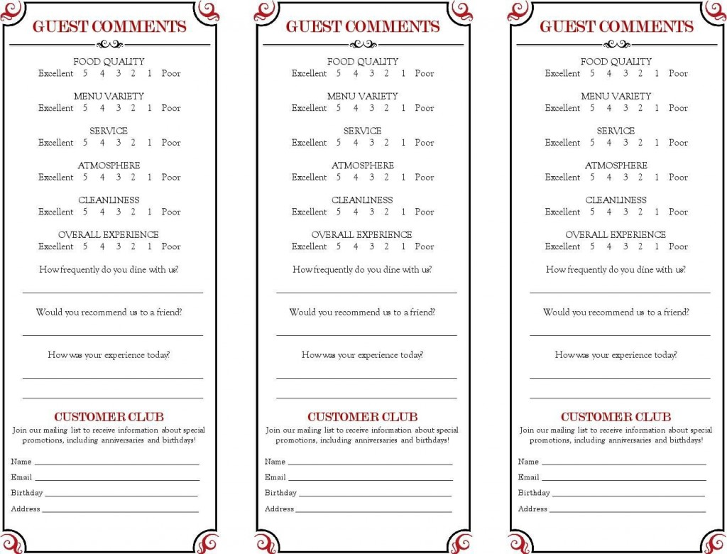 009 Awesome Restaurant Customer Comment Card Template Example  For Word FreeLarge